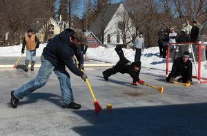 Broomball at the Chester Winter Carnival