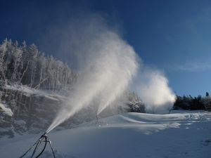 Snowmaking at Smugglers' Notch on Nov. 21