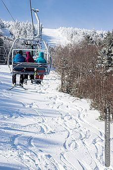 Riding the lift at Sugarbush, Vermont