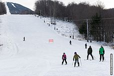Photo of families at base of Pico ski area in Vermont