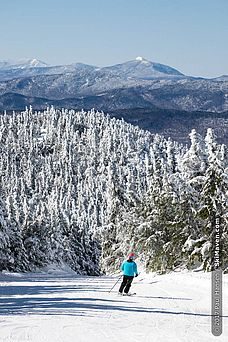 Skiing from the summit lift at Smugglers' Notch, Vermont