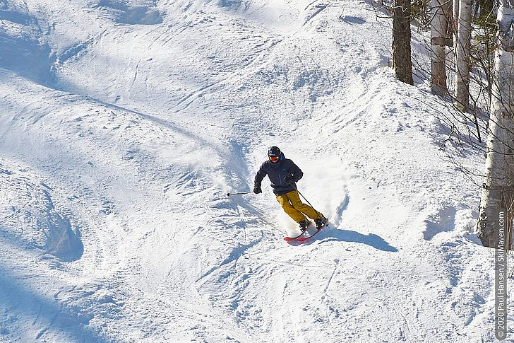 Photo of skier in moguls