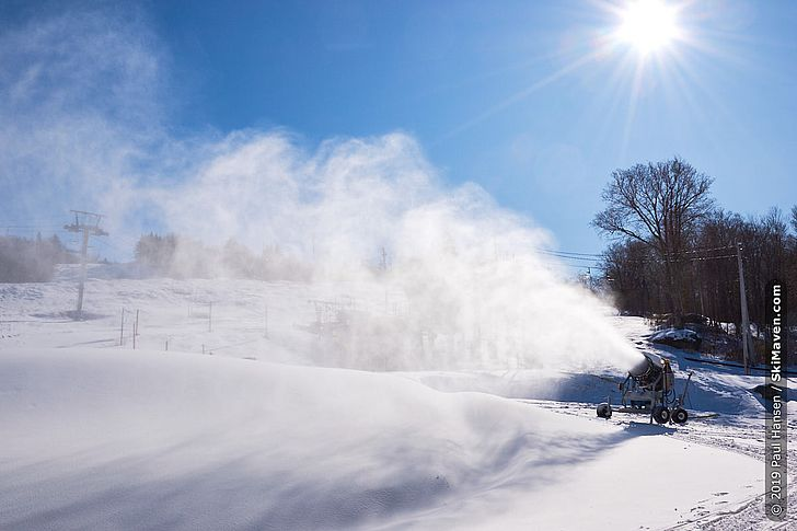 Photo of snowmaking at the ski resort