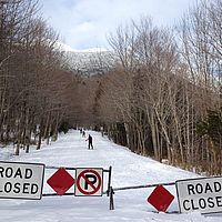 Skiing the Smugglers' Notch road