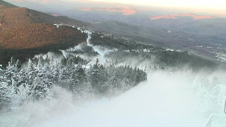 Snowmaking at Killington ski resort, Vermont