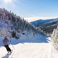 Photo of skier making turns at Smugglers' Notch in sunshine with mountain view