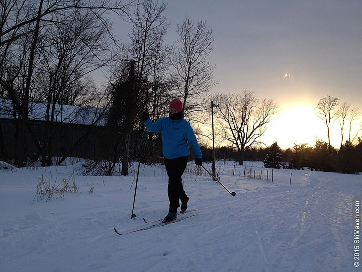 Sunset cross-country skiing