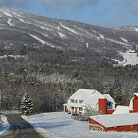 Snowy view of Okemo ski resort, Vermont