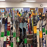Photo of skis for sale at a Vermont ski swap