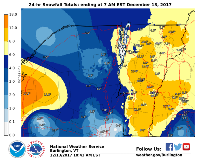 National Weather Service snowfall map on morning of December 13.