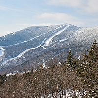Photo of a ski resort's many trails