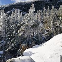 Snowy rocks, trees and cliff at the top of the gondola on Mt. Mansfield